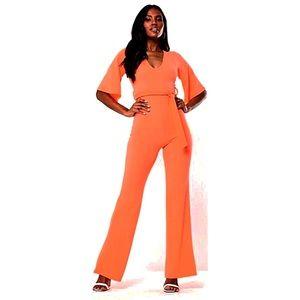 Missguided Neon Orange Jumpsuit